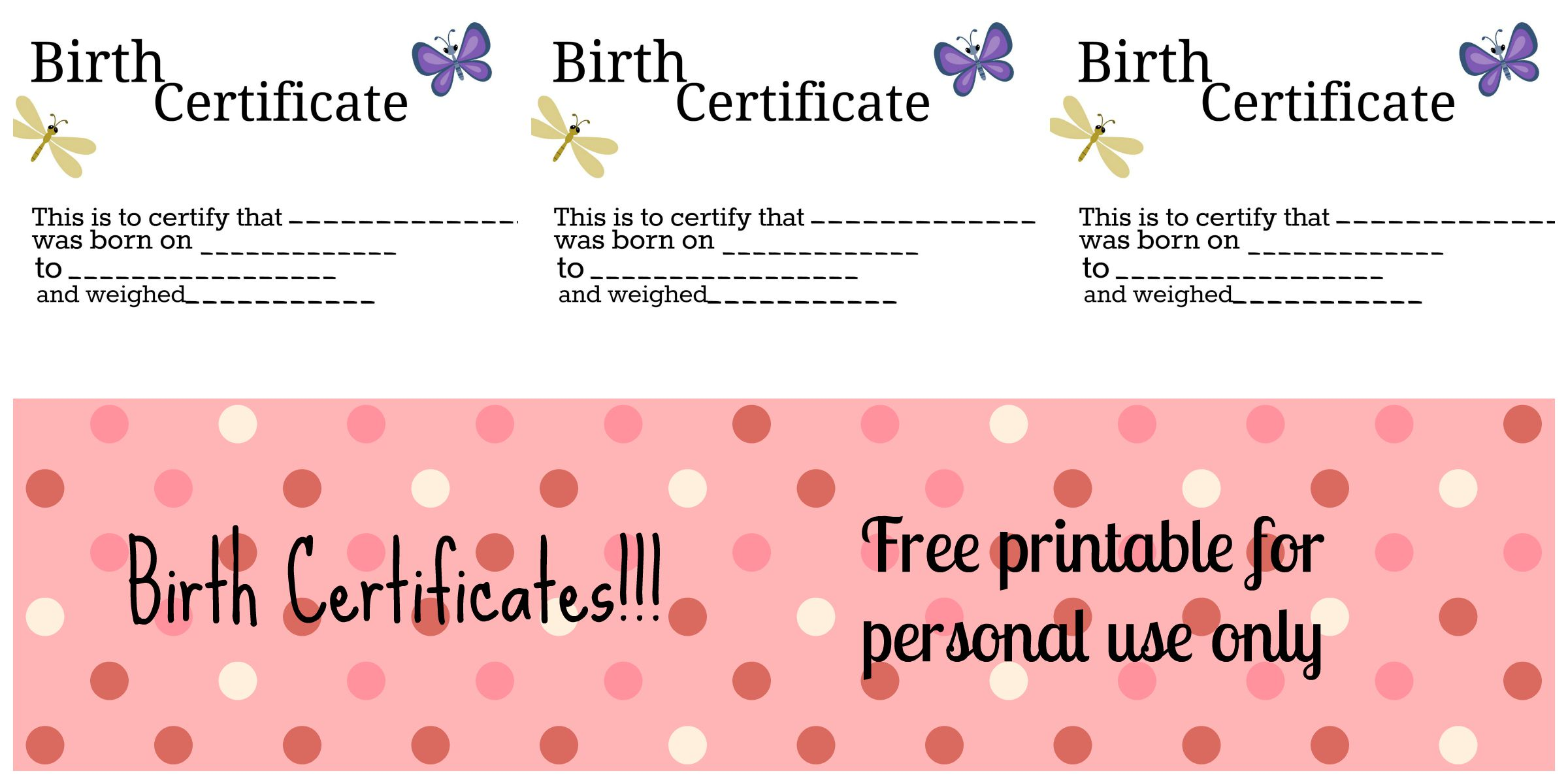 Free Printable: Doll Birth Certificates and Announcements ...